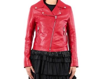 Italian handmade Women soft genuine lambskin lamb leather biker jacket slim fit color natural grainy red