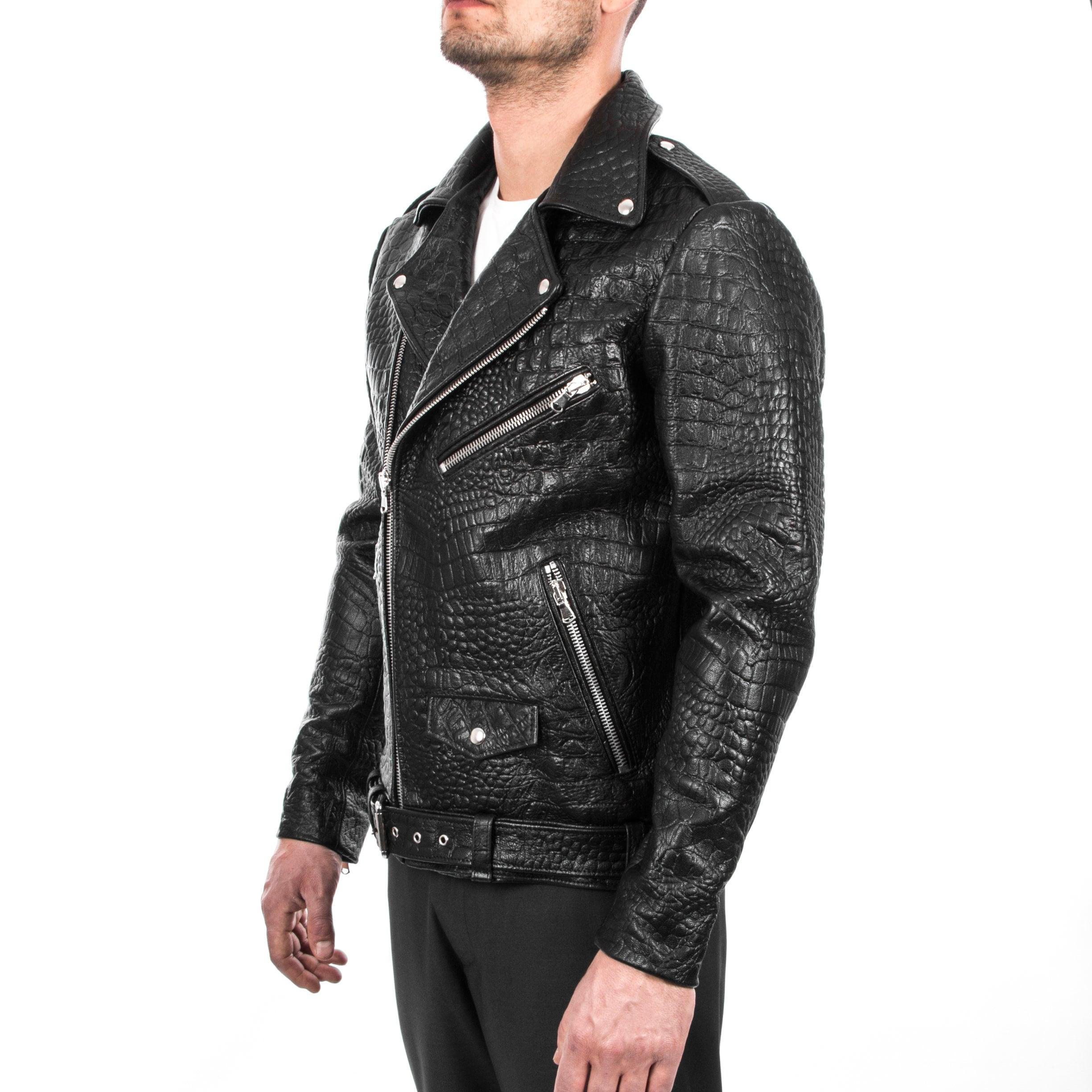 7601de06f Italian handmade Men black Crocodile leather biker jacket slim fit ...