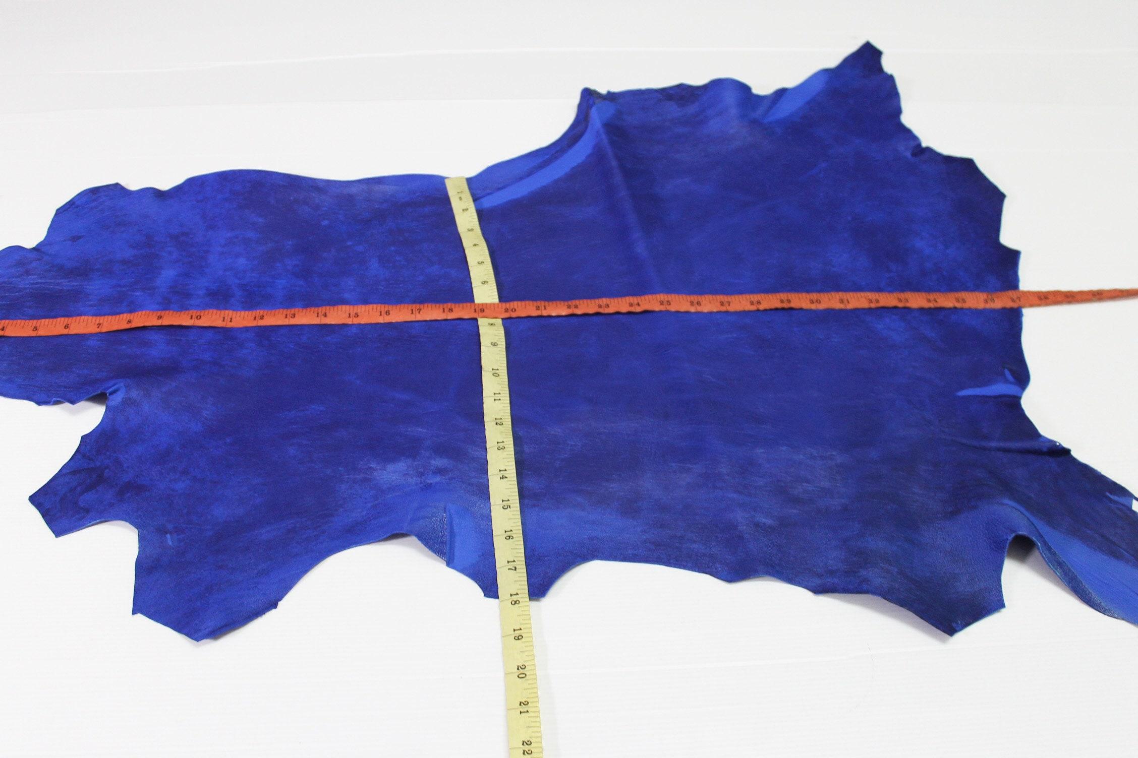 68dc724c1eae ROYAL BLUE DISTRESSED textured thick vegetable tan Italian genuine Lambskin  Lamb Sheep leather skin hide skins hides 5sqf 1.4mm  A4123