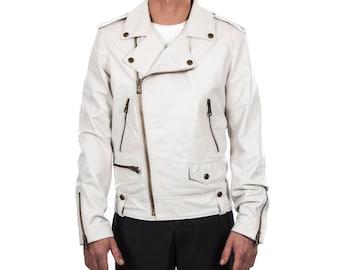 Italian handmade Men genuine lambskin leather biker jacket slim fit color ivory  brass hardware S to 2XL