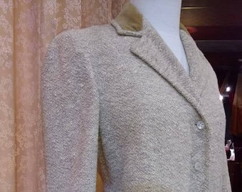 Classic 1940s Vera Maxwell 2pc Boucle Wool Creme Jacket with Skirt