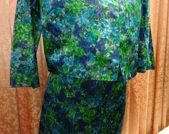 Mod! 1960s 2pc Emerald Floral Rayon Dress with Matching Jacket