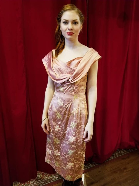 1950s pink wiggle dress