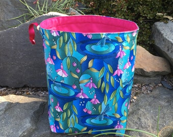 Sock Sack. Two at a Time sock knitting bag. Deluxe Project Bag with built in yarn organisation. Fuchsia fabric