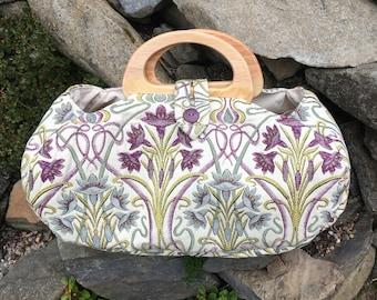 Large project bag. Art Nouveau fabric knitting bag.