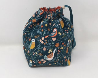 Sock Sack. Two at a Time sock knitting bag. Deluxe Project Bag with built in yarn organisation. Bird fabric