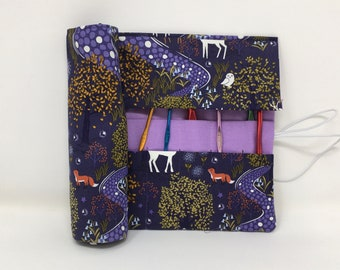 Crochet Hook Case. Double pointed needle roll. Woodland Creatures At Night fabric