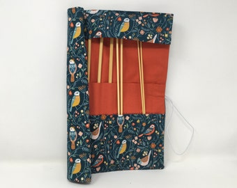 Straight Knitting needle organiser. Knitting needle roll. Bird  fabric