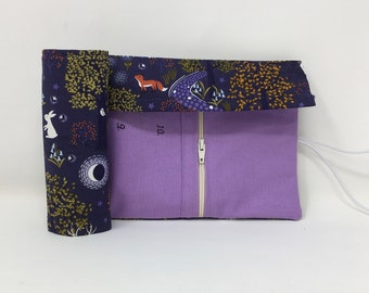 Interchangeable Needle Case- Holds 3mm-10mm interchangeable needle tips. Woodland Creatures at Night fabric