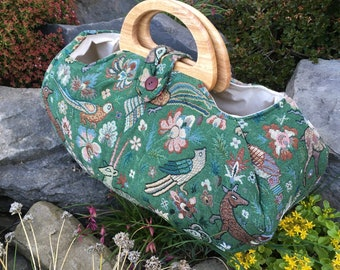 Large project bag. Medieval tapestry fabric knitting bag.