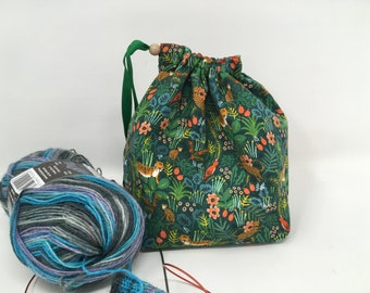 Sock Sack. Two at a Time sock knitting bag. Deluxe Project Bag with built in yarn organisation. Jungle fabric