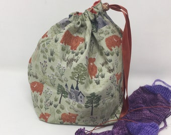 Sock Sack. Two at a Time sock knitting bag. Deluxe Project Bag with built in yarn organisation. Highland cow fabric
