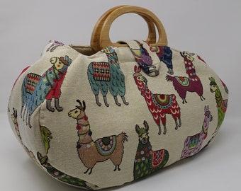 Large project bag. Llama, Alpaca fabric knitting bag.