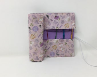 Crochet Hook Case. Double pointed needle roll. Bee fabric