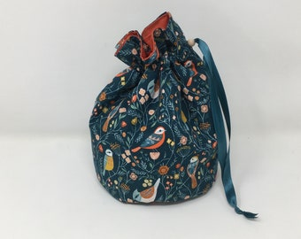 Bird Fabric Bag. Small Drawstring bag ideal for knitting or crochet projects