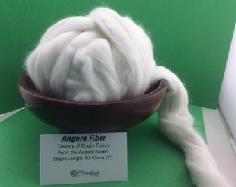 Angora Roving, Natural White Angora Top, Super luxury fiber for spinning or dyeing, very soft