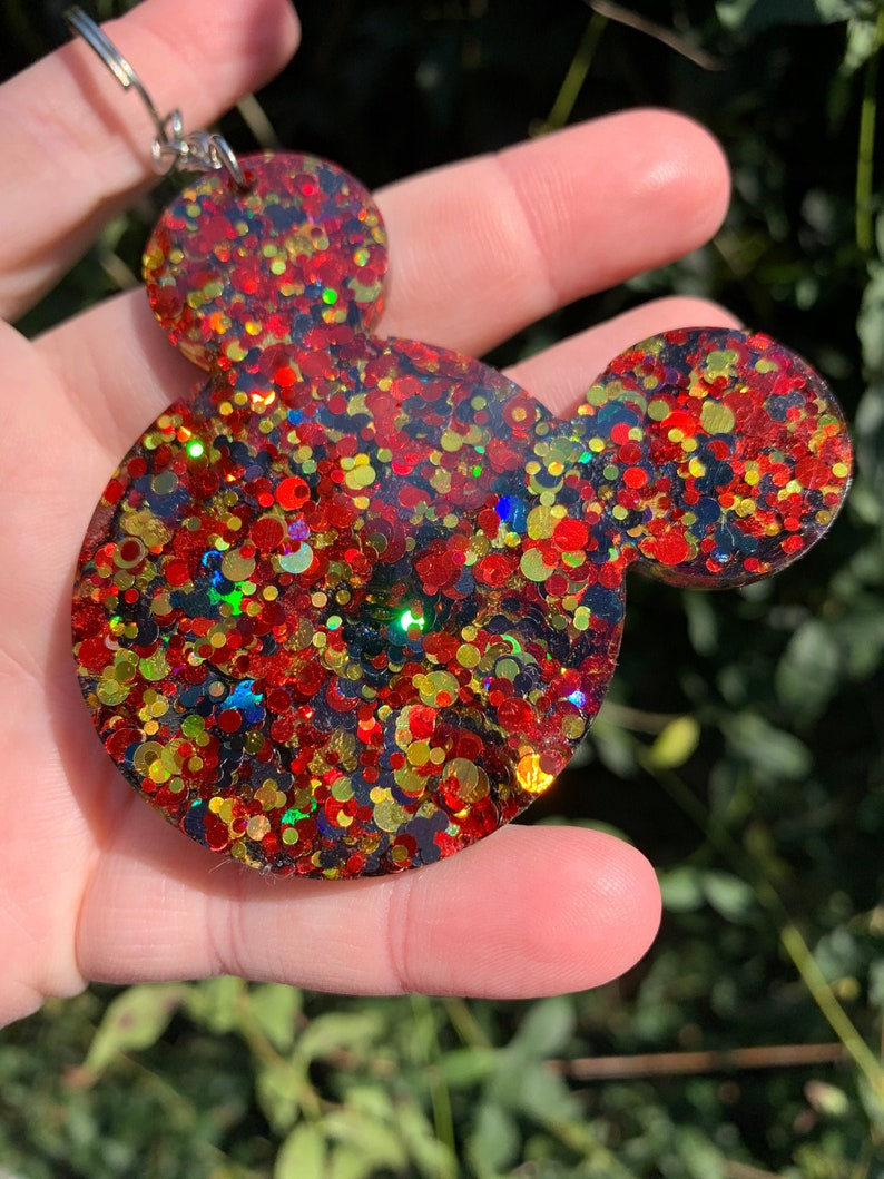 Glitter Moused Shaped Resin Keychain Red Black and Gold