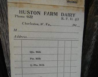 Antique Unused Receipt -Order Carbon Copy Booklet - Huston Farm Dairy - Milkman Delivery - Charleston WV