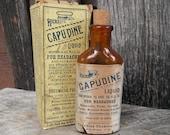Antique Amber Medicine Bottle with Box - Hick 39 s Capudine - Headache Liquid