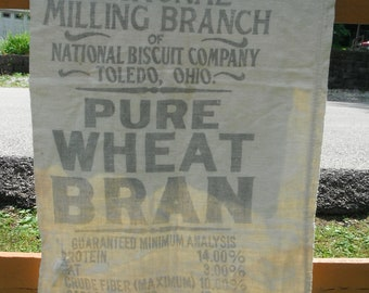 Primitive Muslin Feedsack - National Biscuit Company - Pure Wheat Bran
