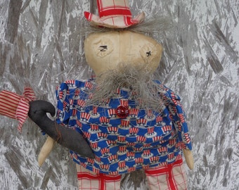 Primitive Americana UNCLE SAM DOLL Shelf Sitter with Crow