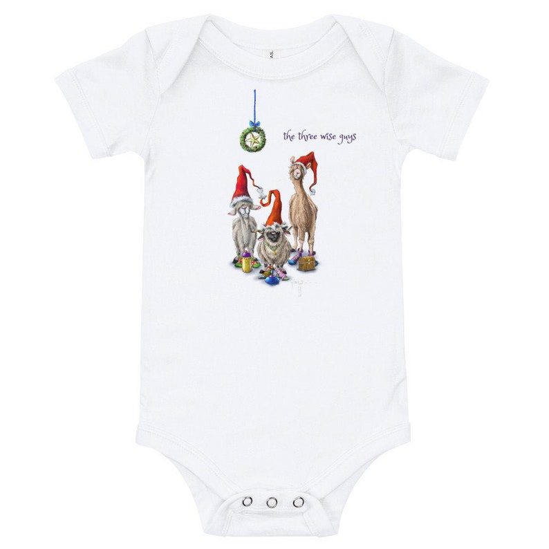 Baby Christmas Onsie T-Shirt Sheep Incognito Animals The Three image 0