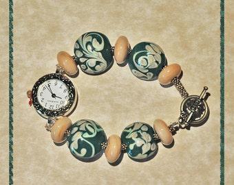 Tan Swirls on Teal Handmade Lampwork Beaded Watch Bracelet