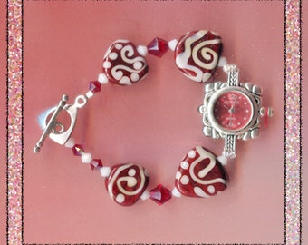 Red & White Swirls Handmade Lampwork Watch Bracelet