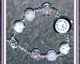 Vanilla Raspberry Ice Handmade Beaded Watch Bracelet
