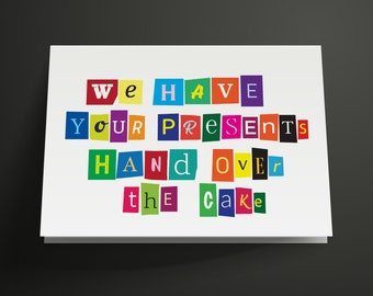 Funny Ransom Printable Birthday Card, Instant Download