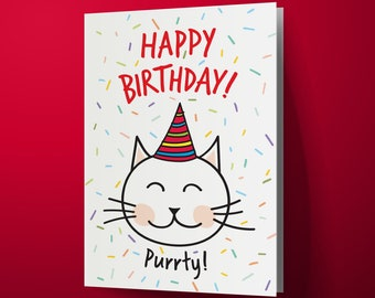 Funny Cat Printable Birthday Card, Instant Download