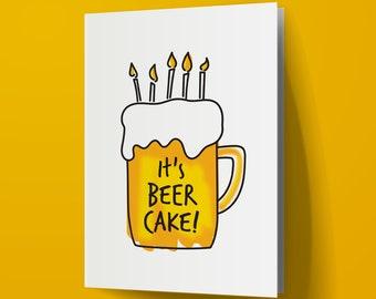 Beer Cake Printable Birthday Card, Instant Download
