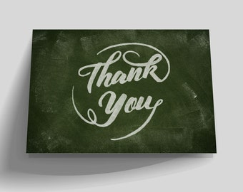 Chalkboard Printable Thank You Card, Instant Download