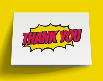 Comic Burst Printable Thank You Card, Instant Download
