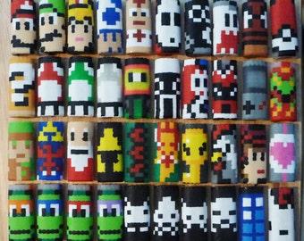 You Choose - 2 Perler Bead LIGHTER CASES - gifts - nintendo - mario - zelda - tmnt - pokemon - mega man - south park - mushroom