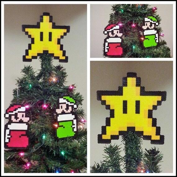 image 0 - Super Mario Bros. Perler Bead Star Christmas Tree Topper And Etsy
