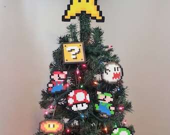 ORIGINAL Mario Bros. Perler Bead Star Christmas Tree Topper and Ornament Set (9 Piece) trending - december trends - gifts