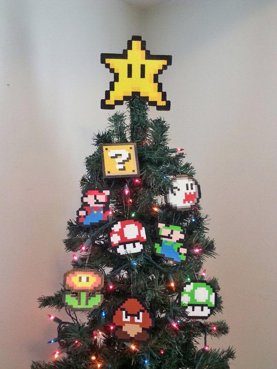image 0 - ORIGINAL Mario Bros. Perler Bead Star Christmas Tree Topper And Ornament  Set (9 Piece) - New Years Eve Party - December Gifts