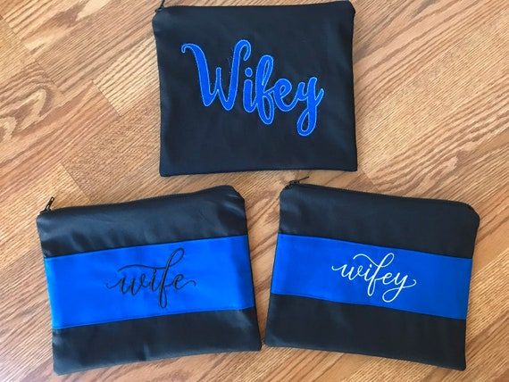police wife gift Police wife zippered bag wifey zipper bag LEOW gift police wife thin blue line