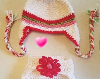 New Born Crochet Flower Earflap Hat For Baby Girl