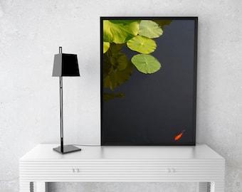 Goudvis vijver print mozaïek water planten aqua tuin etsy