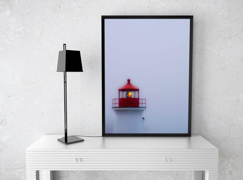 St John Lighthouse Print Foggy Harbor Coastal Canada Gray Etsy