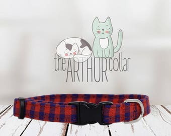 Cat Collar - Checkered Blue and Red - Gingham Pet Collar - Checks Kitten Collar - Kitty Cat Collar