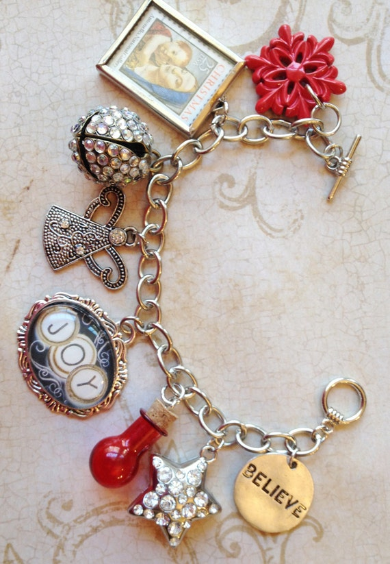 Christmas Holiday Jesus Angel Joy Star Bell Believe Charm Altered Art Mixed Media Bracelet Jewelry