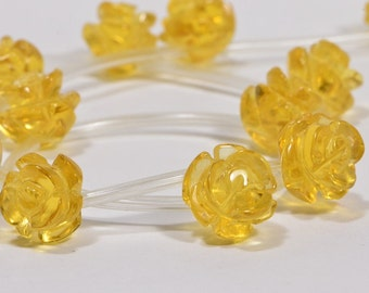 Citrine 10mm 2 Beads Carved Rose Natural Gemstone Beads Citrine Beads Jewelry Making Supplies
