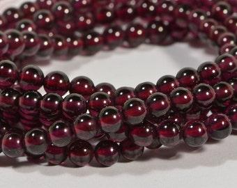 "Garnet 4mm 16"" Strand Beads Natural Gemstone Beads Gemstone Bead Garnet Beads Jewelry Making Supplies"