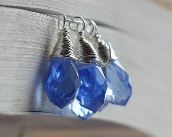 Wire wrapped crystal pendant Blue teardrop pendant Add dangle
