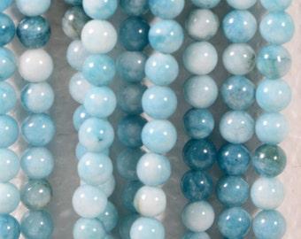 Larimar Quartz 6 mm Blue Natural Gemstone Beads Jewelry Making Supplies Full Strand