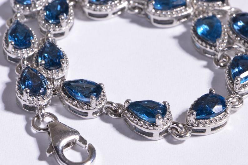 London Blue Topaz Bracelet Chain Gemstone Bracelet Prong Setting Teardrops Sterling Silver Gemstone Link Bracelet Birthstone November