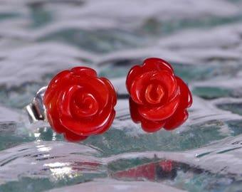 Coral Earrings Sterling Silver Coral Earrings Gemstone Jewelry